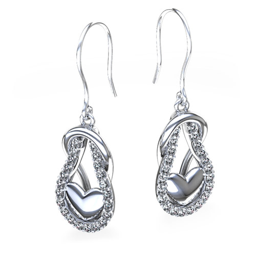 Love Knot Diamond Earrings in white gold