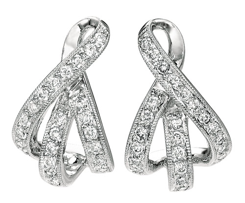 White Gold Ribbon Diamond-Earrings
