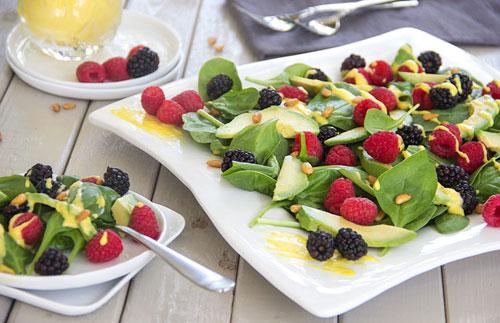 Anti-Aging Avocado Berry Salad Mango Vinaigrette