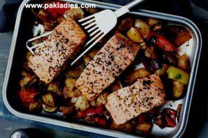 Mediterranean Salmon Tray Bake