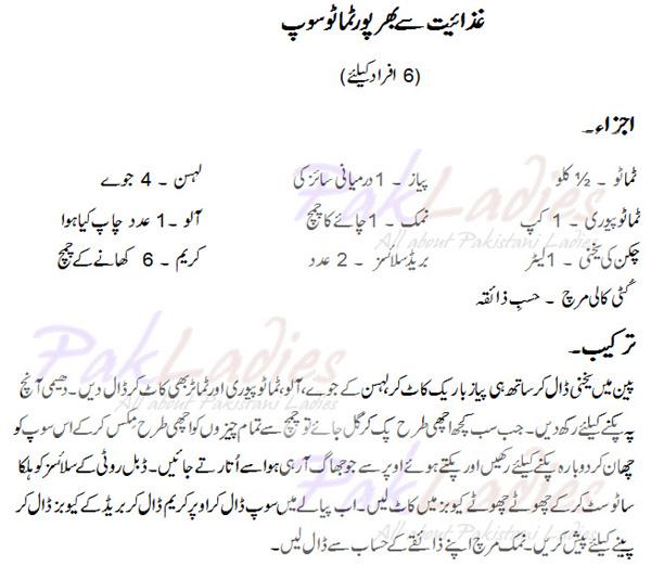 Nutrition Tomato Soup English Urdu Recipe