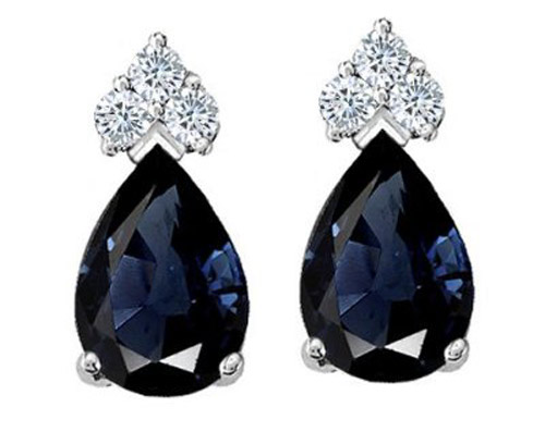 Genuine sapphire Diamond Earrings