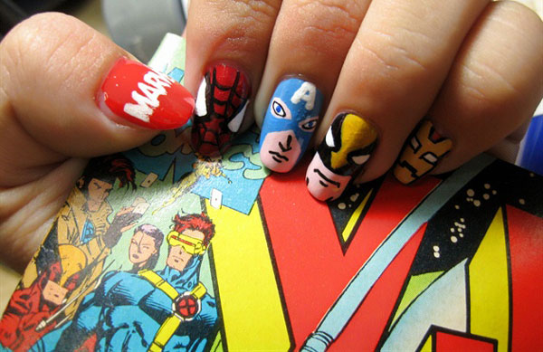 Comic Book Themed Nail Art