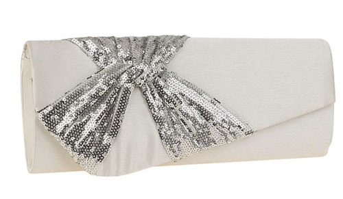 White Satin & Sequin Bow Clutch Bag