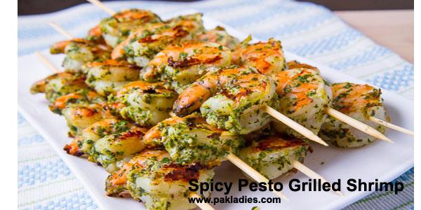 Spicy Pesto Grilled Shrimp
