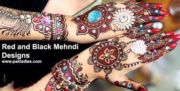 Red and Black Mehndi Designs